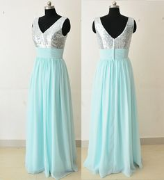 ┗^ǒ^*★*^ǒ^*☆^ǒ^*★*^ǒ^*☆*^ǒ^*★*^ǒ^*☆*^ǒ^★*^ǒ^┛ ∽-★- ITEM INFORMATION -★-∽ MATERIAL : 100d Chiffon and Sequin COLOR : Mint Blue Chiffon(#43) and silver Sequin  ★Note:this dress can be made in any color of your choice. Here is my color swatch: https://www.etsy.com/listing/198598405/color-swatch-of-chiffonfor-bridesmaid  ★Actual color may vary from the color on your screen due to monitor color restrictions, it is cant be avoided. So Highly suggest that you buy the color swatch before you place…