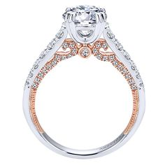 Gabriel - Bella 18k White And Rose Gold Round Straight Engagement Ring