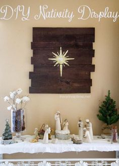I need to make this and hang in above my Nativity!  DIY wood pallet from iheartnaptime.net