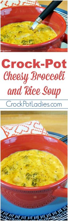 Crock-Pot Cheesy Broccoli and Rice Soup - A great meal for a cold winter day this recipe for Slow Cooker Cheesy Broccoli and Rice Soup is an easy, filling soup that your family will love! | CrockPotLadies.com