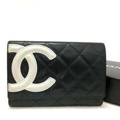 fa4814fb5ca 101% Authentic CHANEL Combon Line Black Lambskin Bifold Wallet  c307   fashion  clothing