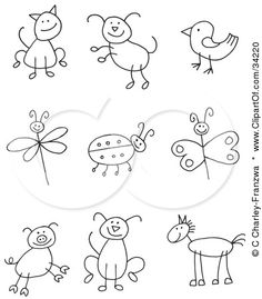 Stick figure cat, dog, bird, dragonfly, ladybug, butterfly, pig, puppy and horse