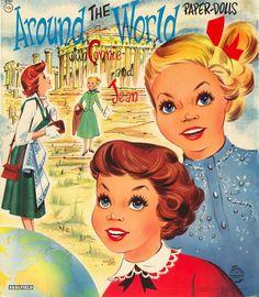 Kathleen Taylor's Dakota Dreams: Thursday Tab- Saalfield #2767, Around the World with Connie and Jean, 1958
