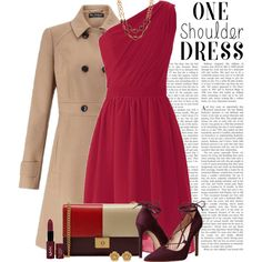 One-shoulder dress by yonnama on Polyvore featuring Miss Selfridge, Massimo Matteo, Mulberry, Talbots, Miriam Haskell, NYX, dress and burgundy