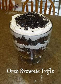 Can you get any better than a trifle? It's layers of everything you want from a dessert: brownies, rich pudding, whipped cream and cookies. Yep, I'm sold. And I think it looks so cool for when you hav