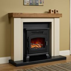 Bracken Electric Fireplace - Shown in Ivory / Anthracite finish complete with a mantel top in Country Oak.