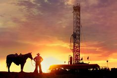 Stock photo of a cowboy standing with his horse in front of an oil and gas drilling rig at sunset in Texas Oilfield Trash, Oilfield Life, Oilfield Quotes, Black Gold Oil, Oil Rig Jobs, Petroleum Engineering, Oil Platform, Big Oil, Drilling Rig