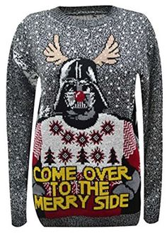 YOUR LOOK FASHION UNISEX UK CHRISTMAS JUMPERS Xmas 3D NOVELTY STARWARS DARTH VADER LADIES MEN NOVELTY JUMPER S-XL