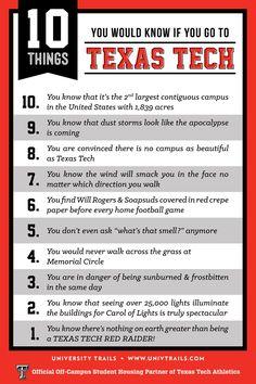 10 things every true Red Raider knows! Texas Tech Dorm, Texas Tech Football, Texas Tech University, Texas Tech Red Raiders, War Quotes, Lubbock Texas, Alma Mater, School Spirit, I School