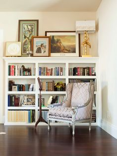 Beautiful bookshelf/ reading area. Perfect to put our diplomas up on top in an office.