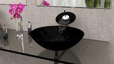 Ideas For Bathroom Sink Vessel Glass Bowls Glass Bathroom Sink, Glass Vessel Sinks, Pedestal Sink, Bathroom Wall Decor, Small Bathroom, Glass Bowls, Teen Girl Decor, Bathroom Shelves For Towels, Black Sink