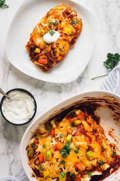 These Sweet Potato and Black Bean Enchiladas are a delicious and easy weeknight meatless enchilada recipe. They are a guaranteed family favourite! Sweet Potatoe Enchiladas, Black Bean Enchiladas, Vegetarian Dinners, Vegetarian Recipes, Healthy Recipes, Healthy Foods, Veggie Recipes, Dinner Recipes, Fall Recipes