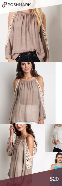 NWT UMGEE MOCHA TOP SHIRT BLOUSE TUNIC NWT UMGEE BLOUSE COLD SHOULDER WITH CROCHET DETAIL Tops Blouses