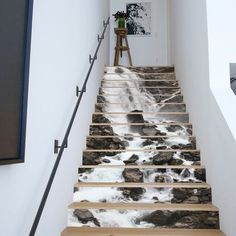 Amaonm Creative Decorative Waterfall Mountain Water Self-adhesive Stair Riser Decal - Stair Stickers Decals Wallpaper for Walls Kitchen Bathroom Stair Decals Home Decoration Stair Stickers, Wall Decor Stickers, Wall Decals, 3d Wall Murals, Art Mural, Stairs In Living Room, House Stairs, Living Rooms, Home Interior Design