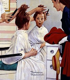 "Original Norman Rockwell Paintings | Norman Rockwell, ""First Trip to the Beauty Shop,"" from 1972. The ..."