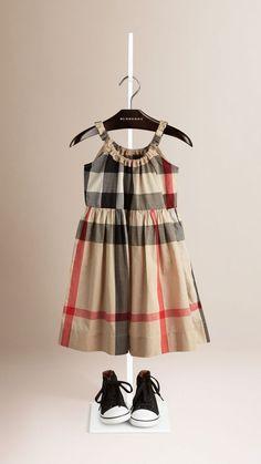 6b1d9aedb27a Frill Detail Check Cotton Dress