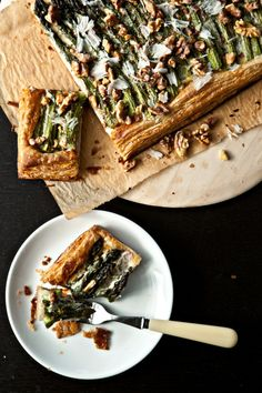 Asparagus Tart with Walnuts and Parmesan - NOT healthy but oh it looks good!