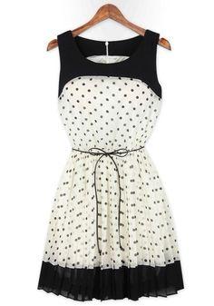 White Polka Dot Patchwork Pleated Belt Chiffon Dress