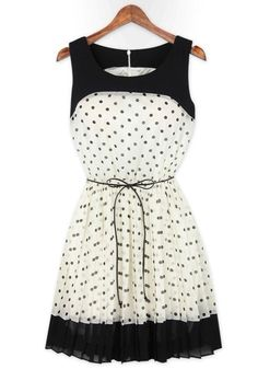 White Polka Dot Patchwork Pleated Belt Chiffon Dress: This is just too cute for words!