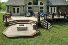 10 Design Ideas Determining Your Multi level Decks 2019 Multi-level Deck with Firepit AZEK Decking The post 10 Design Ideas Determining Your Multi level Decks 2019 appeared first on Backyard Diy. Backyard Patio Designs, Large Backyard, Backyard Landscaping, Landscaping Ideas, Backyard Decks, Landscaping Around Deck, Desert Backyard, Sloped Backyard, Backyard House