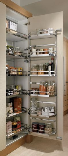Top 10 The Best Kitchen Storage Ideas : Top 10 The Best Kitchen Storage Ideas – Huge Storage with pull-out tandem larder Kitchen Room Design, Modern Kitchen Design, Kitchen Interior, Kitchen Decor, Kitchen Organisation, Kitchen Storage Solutions, Kitchen Cupboards, New Kitchen, Kitchen Pantry Cupboard