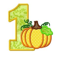 Pumpkin Number One Applique - 3 Sizes! | What's New | Machine Embroidery Designs | SWAKembroidery.com Dollar Applique