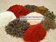 BLACKENED SEASONING  This is a nice, spicy seasoning that is great on just about any meat, poultry or seafood.  Some of my favorite uses for it are on pork chops, chicken, and salmon.       INGREDIENTS   1 ½ Tbs. Paprika   1 Tbs. Garlic Powder   1 Tbs. Onion Powder   1 Tbs. Thyme   1 tsp. Cayenne Pepper   1 tsp. Basil   1 tsp. Cumin  1 tsp. Celery Salt   ½ tsp. Oregano