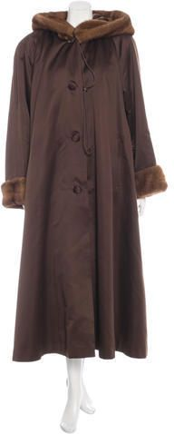 Fur Mink Trimmed Long Coat