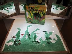 Extend In the Tall Tall Grass at the light table with laminated tissue paper grass & story props
