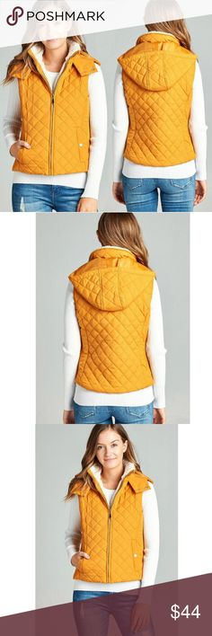 New! Mustard Quilted vest Lined w/ Faux Shearling New! Mustard Quilted vest Lined w/ Faux Shearling Happy Organics Boutique Jackets & Coats Vests