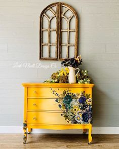 Sunny Days Painted Dresser Repurposed Furniture days dresser painted sunny What is Decoration? Decoration is the art of decorating the … Diy Furniture Redo, Decoupage Furniture, Funky Furniture, Refurbished Furniture, Repurposed Furniture, Furniture Projects, Dresser Repurposed, Wood Projects, Bright Painted Furniture