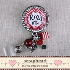 Personalized Nurse ID Badge Reel Cute Bling Red by ScrapheartGifts
