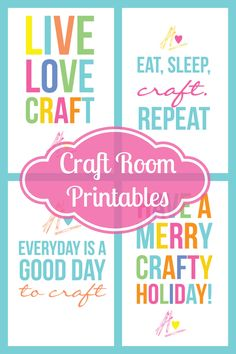 Free craft room printables! by Kori.. 4 Different styles to choose from. These colorful craft prints make great gifts for the crafter in your life!