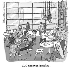 "stop checking instagram and get back to ""work"" // @tobysbrooklyn #coffeeshoplife #millennialschedules #brooklyncartoons #cartoons"
