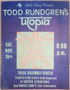 1975 Todd Rundgren's Utopia Tulsa Concert Poster