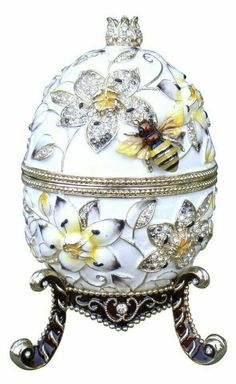 """Limited Edition Large Faberge Style Music Egg, (H) X (W) Weight: 3 lbs 12 oz, Plays """"Fur Elise"""" Objets Antiques, Fabrege Eggs, Bee Art, Egg Shape, Motif Floral, Save The Bees, Bees Knees, Egg Decorating, Saint Petersburg"""