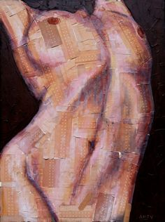 nude painting, female, band aid by ATYSHOP