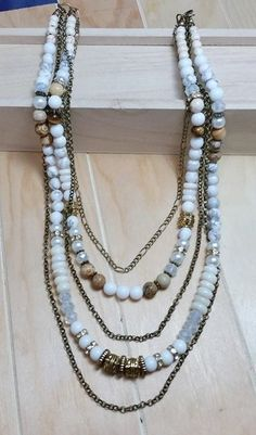 Custom order white turquoise, alabaster, picture jasper, white coral slices, cat's eye, austrian crystal and glass pearl with antique gold chain