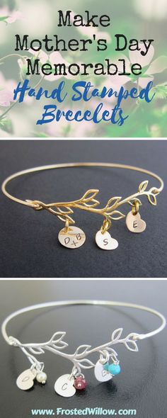 Hand stamped bracelets for Mother's Day. Make Mother's Day memorable with custom initial bangle bracelets Best Mothers Day Gifts, Gifts For Mom, Best Gifts, Bangle Bracelets With Charms, Bangles, Mom And Sister, Personalized Bracelets, Hand Stamped, How To Memorize Things