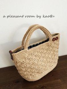 a pleasant room *編み物日記* | 松編み麻ひもバッグ☆プレーン