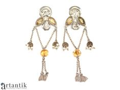 Cercei etnici indieni, argint & citrin natural, bijuterii etnice si tribale, bijuterii de arta/ Indian and ethnic earrings, silver&natural citrine, ethnic and tribal jewelry, art jewelry