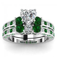 2016 emerald wedding rings_set_princess cut