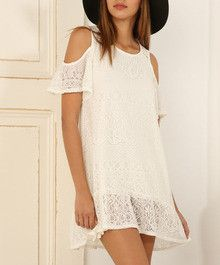 DESCRIPTION Catch some eyes with this off the shoulder boho dress in white, featuring a classive round neck and sheer eyelet lace throughout, while its relax fit gives you that breezy and comfy feel F