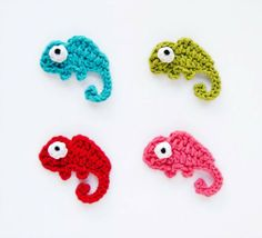 PDF Crochet Pattern - Chameleon Applique - Text instructions and SYMBOL CHART instructions - Permission to Sell Finished Items