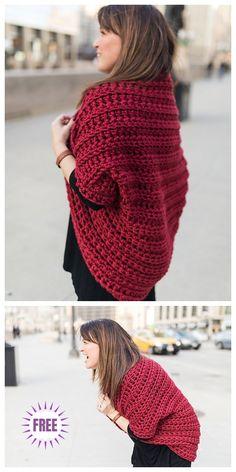 Crochet Juno Chunky Shrug Free Crochet Pattern by marshaprince Crochet Shrug Pattern Free, Cardigan Au Crochet, Black Crochet Dress, Crochet Jacket, Crochet Cardigan, Crochet Shawl, Crochet Cocoon, Chunky Crochet, Knit Or Crochet