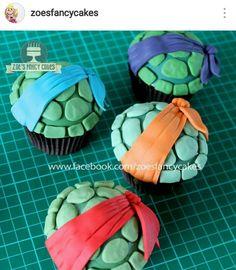 Tmnt Cupcakes on Cake Central Ninja Turtle Birthday Cake, Ninja Turtle Cupcakes, Turtle Birthday Parties, Ninja Turtle Party, Ninja Turtles, 5th Birthday, Turtle Cakes, Ninja Party, Carnival Birthday