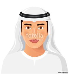 Vector: Beautiful young saudi arab man in traditional muslim hat isolated face avatar portrait vector Illustration