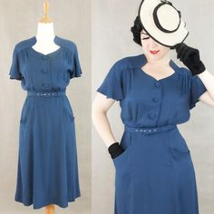 Vintage 1930's 1940's  rayon dress / Darla / Authentic vintage reproduction  /Navy blue crepe 30s 40s dress / XS S M L XL / Made to order