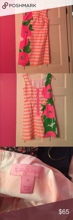 Lilly Pulitzer Delia size 4 dress Neon stripped dress with florals. Worn once!! Lilly Pulitzer Dresses Mini