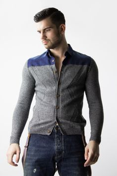 Knitted shirt for men, with fine denim detailing at the top is a must have for winter. This mens shirt features long sleeves, a uniform wash, ribbing at the cuffs and hem. | www.differio.com
